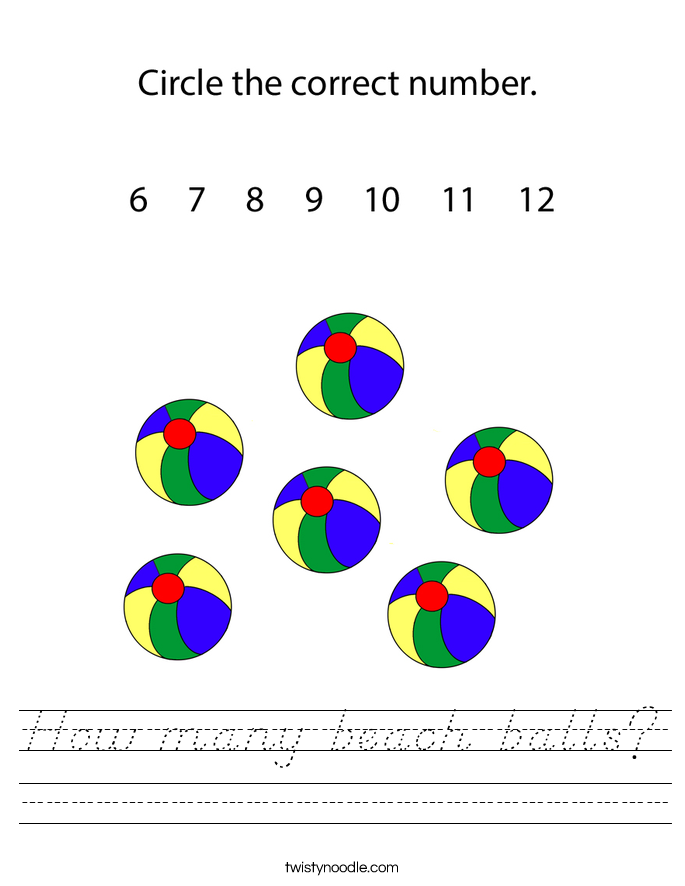 How many beach balls? Worksheet