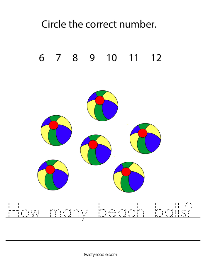 How many beach balls? Worksheet
