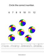 How many beach balls Handwriting Sheet