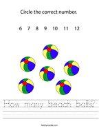 How many beach balls Handwriting Sheet