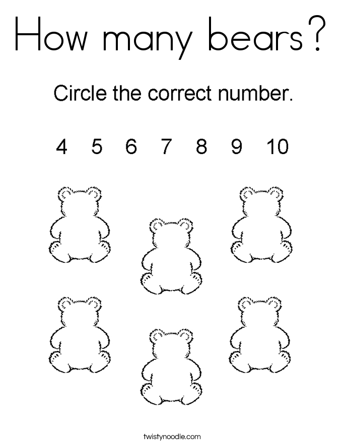 How many bears? Coloring Page