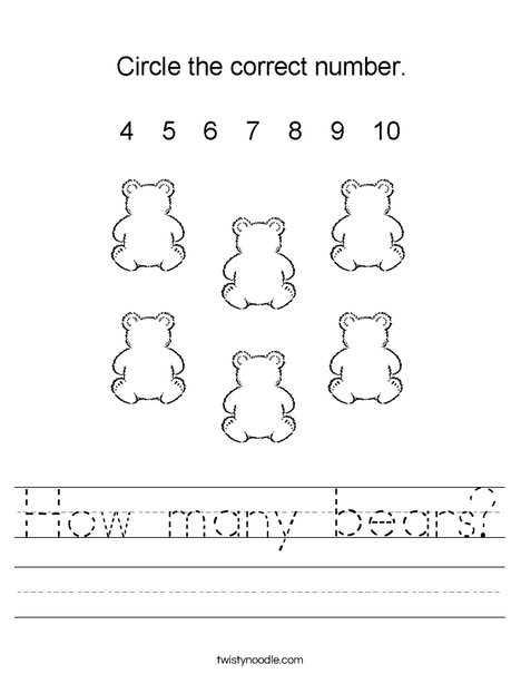 How many bears? Worksheet