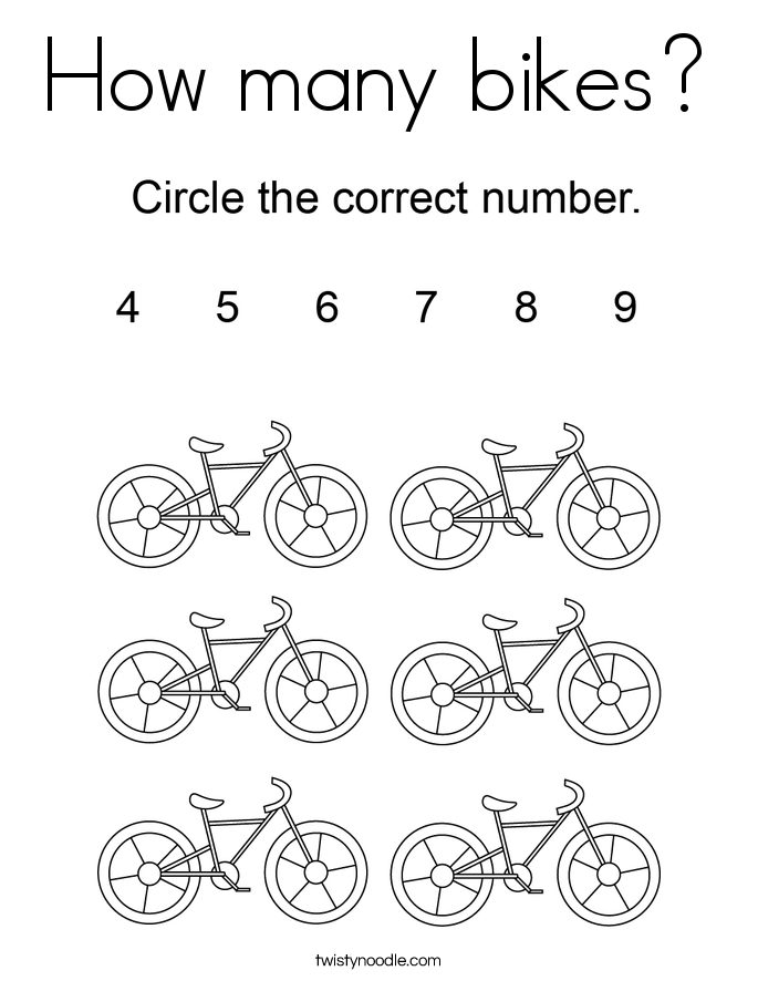 How many bikes? Coloring Page