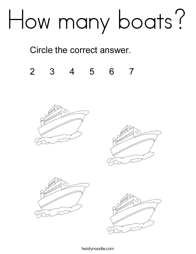 How many boats? Coloring Page