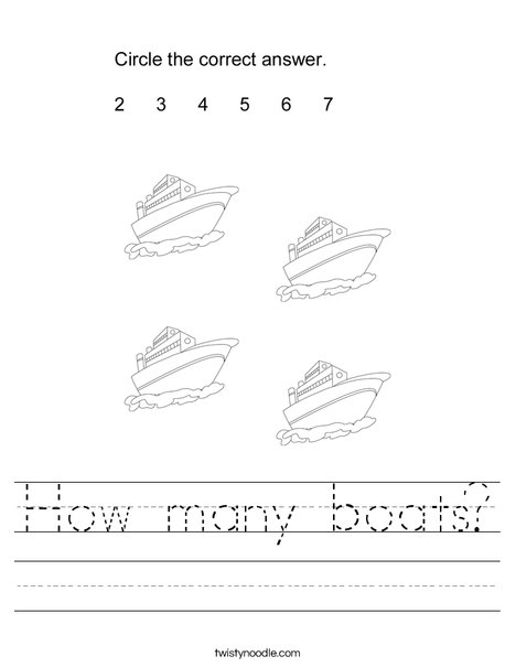 How many boats Worksheet - Twisty Noodle