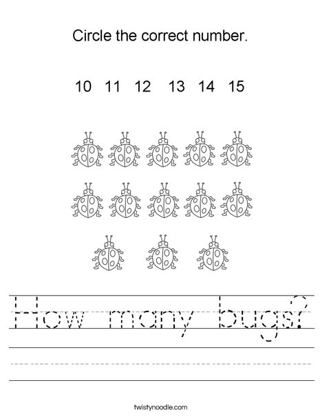 How many bugs? Worksheet