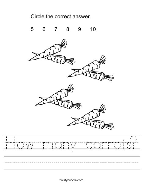 How many carrots? Worksheet