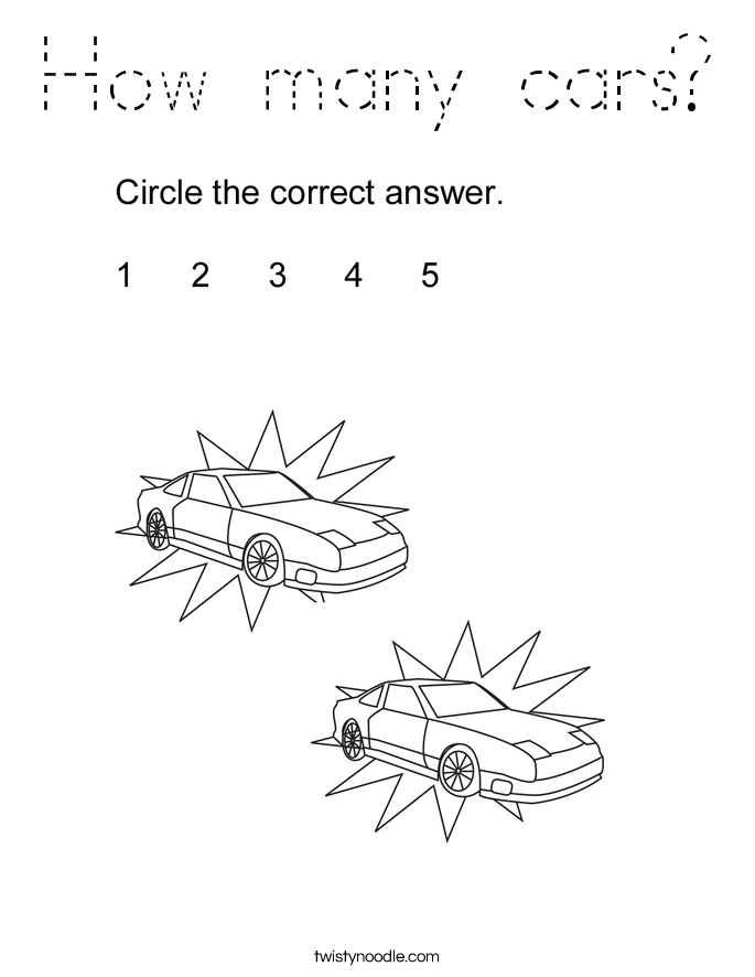 How many cars? Coloring Page