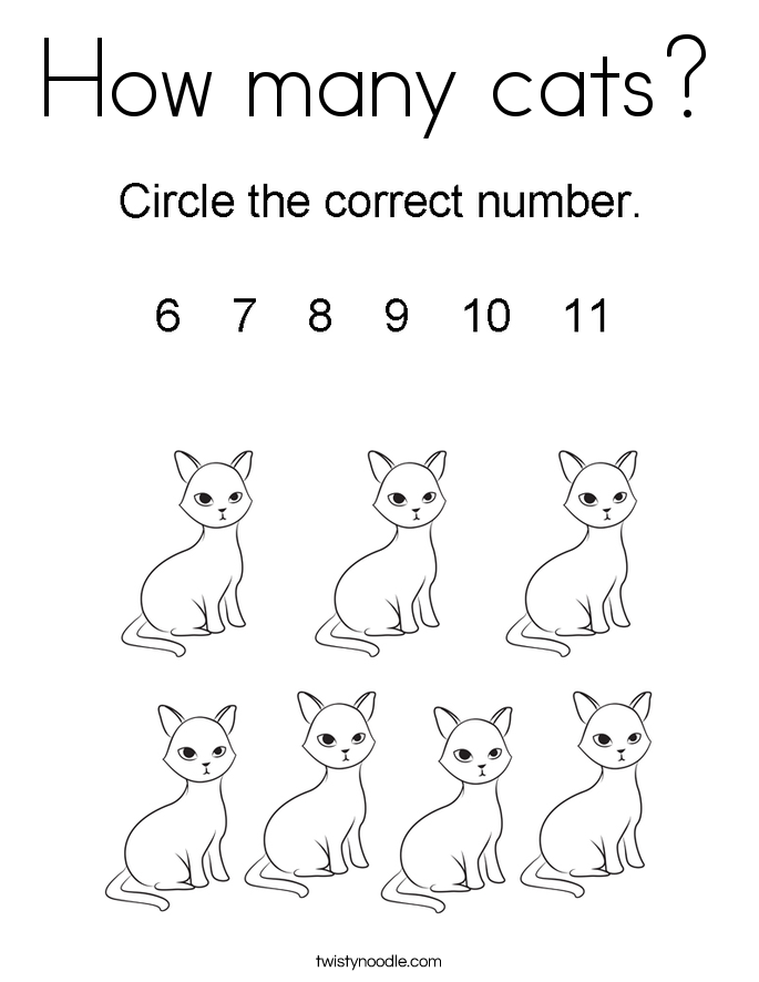 How many cats? Coloring Page