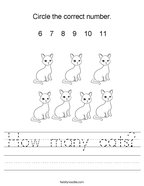 How many cats Handwriting Sheet