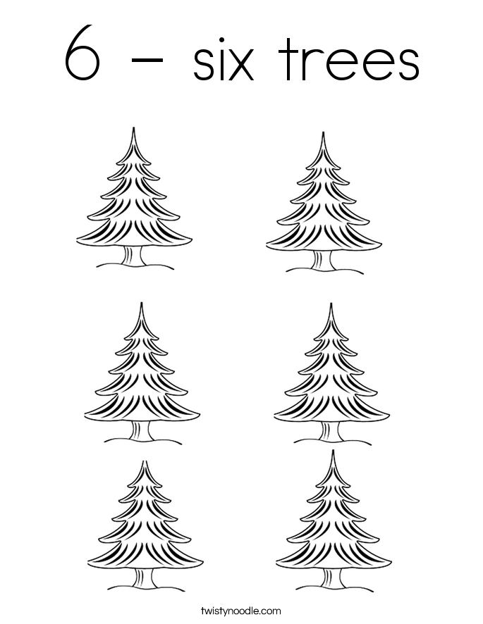 6 - six trees Coloring Page