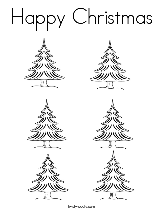Happy Christmas Coloring Page