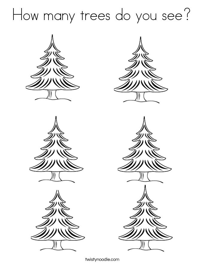 How many trees do you see? Coloring Page
