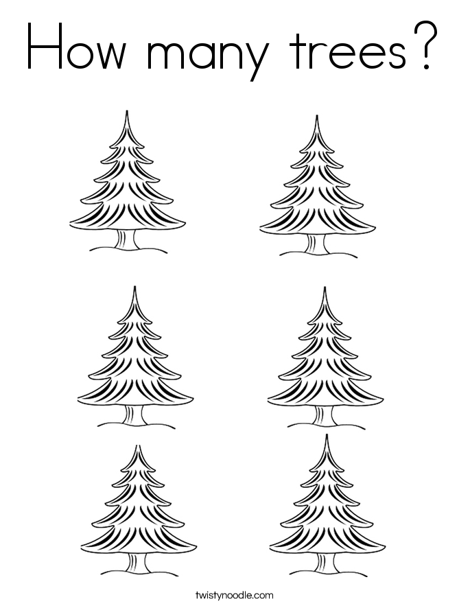How many trees? Coloring Page