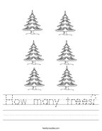 How many trees Handwriting Sheet