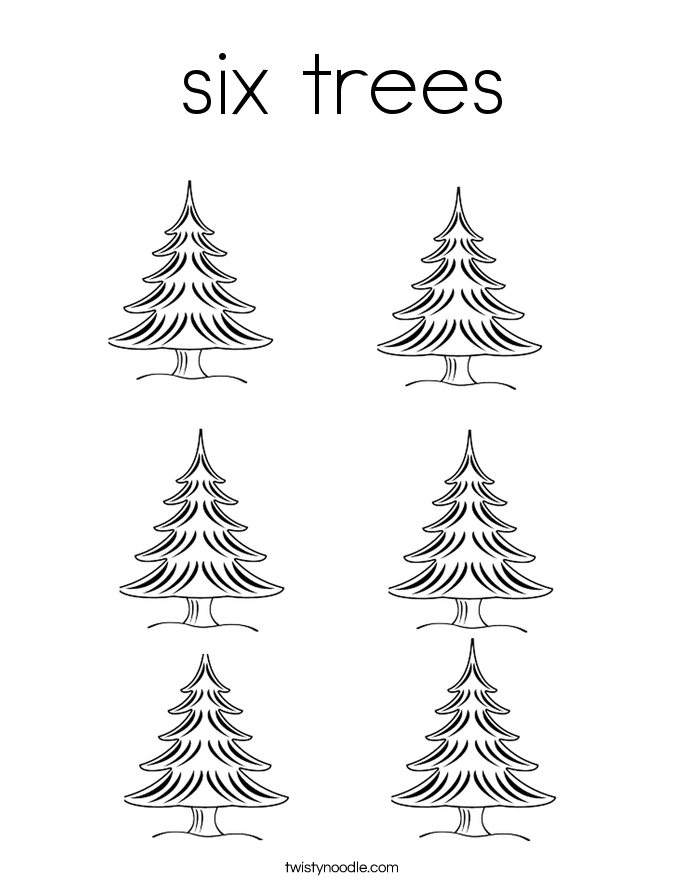 six trees Coloring Page