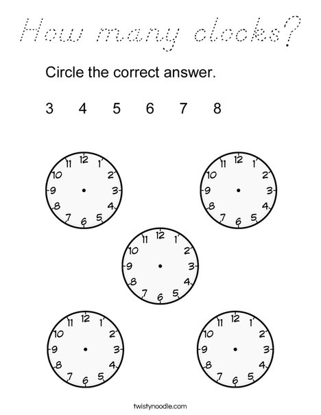 How many clocks? Coloring Page