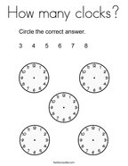 How many clocks Coloring Page