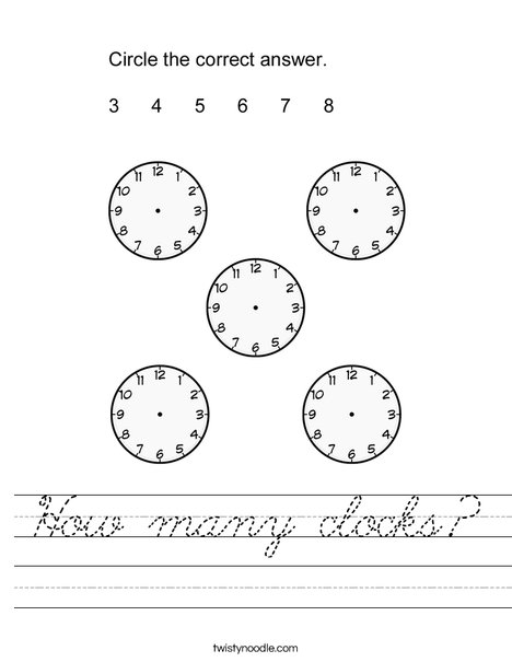 How many clocks? Worksheet