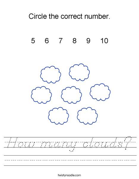 How many clouds? Worksheet