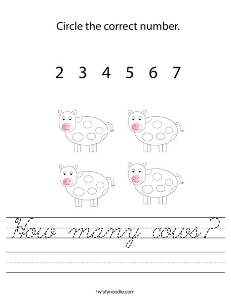 How many cows? Worksheet