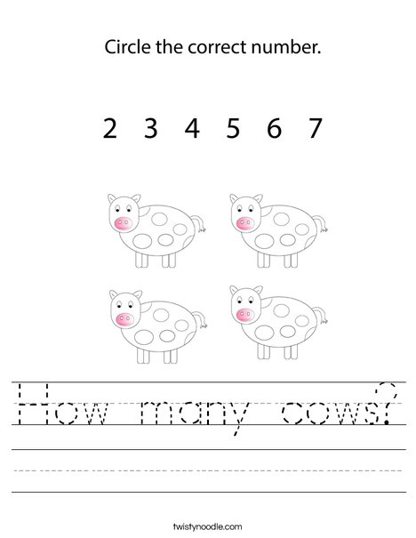 How many cows Worksheet - Twisty Noodle
