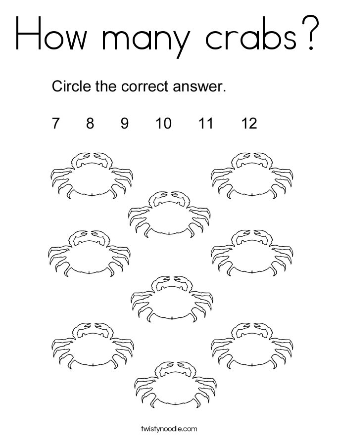 How many crabs? Coloring Page