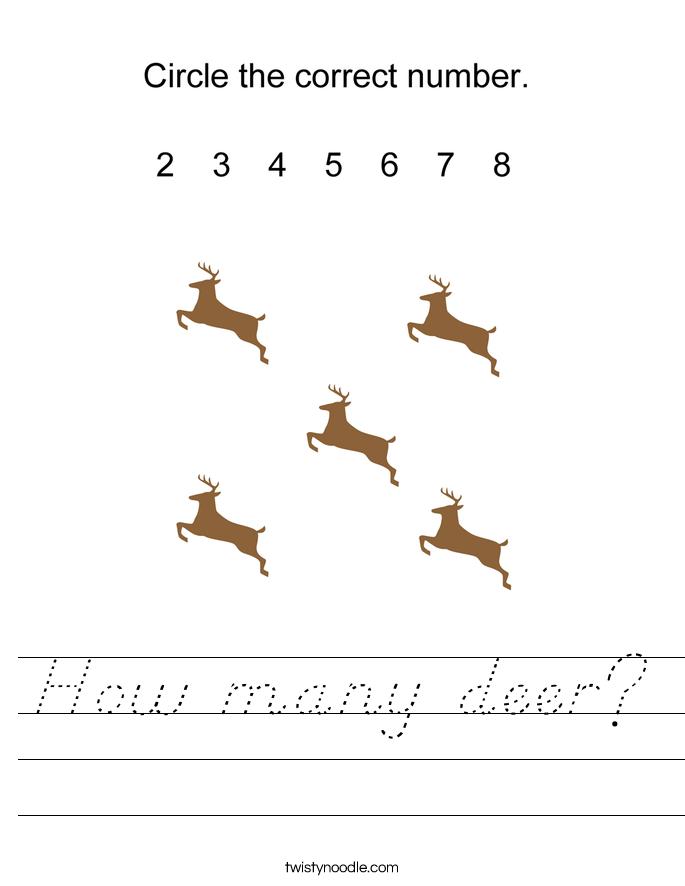How many deer? Worksheet