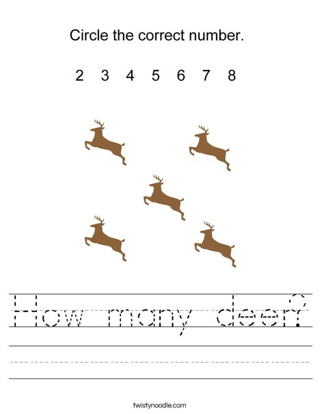 How many deer? Worksheet