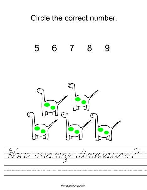 How many dinosaurs? Worksheet