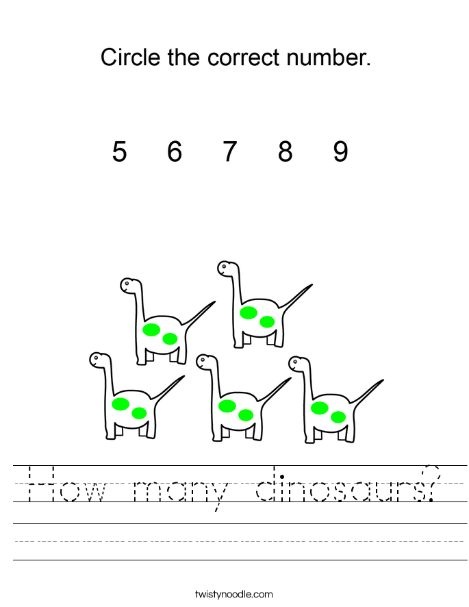 How many dinosaurs? Worksheet
