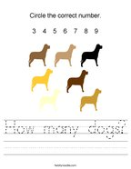 How many dogs Handwriting Sheet