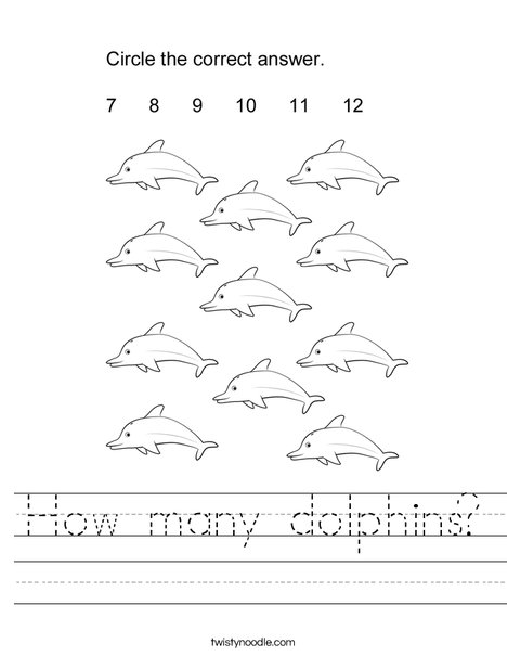 How many dolphins? Worksheet
