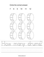 How many drums Handwriting Sheet