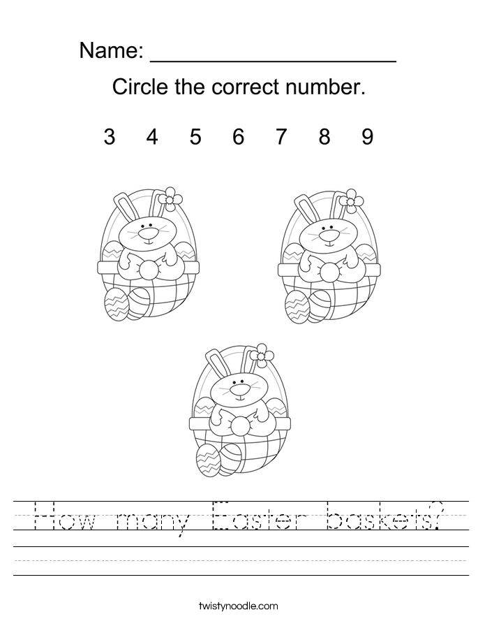 How many Easter baskets? Worksheet