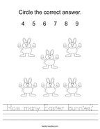 How many Easter bunnies Handwriting Sheet