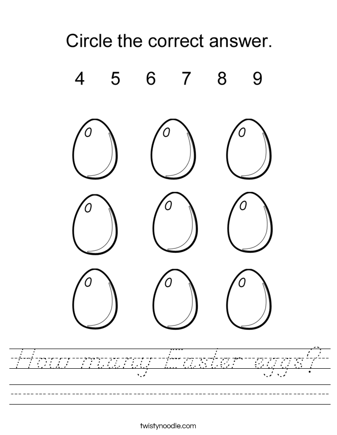 How many Easter eggs? Worksheet