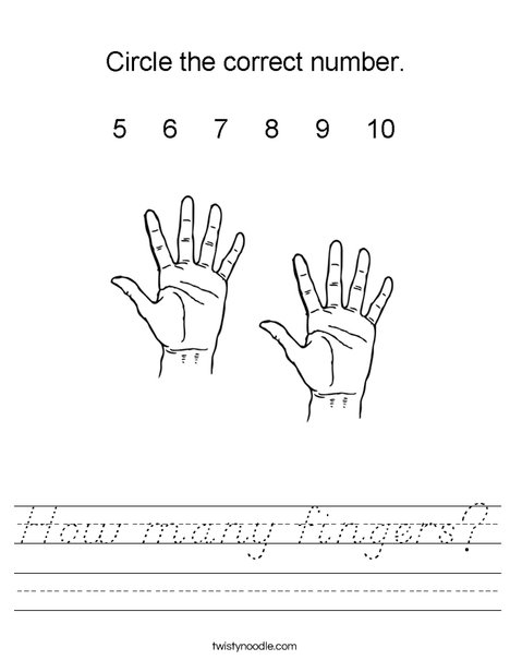 How many fingers? Worksheet