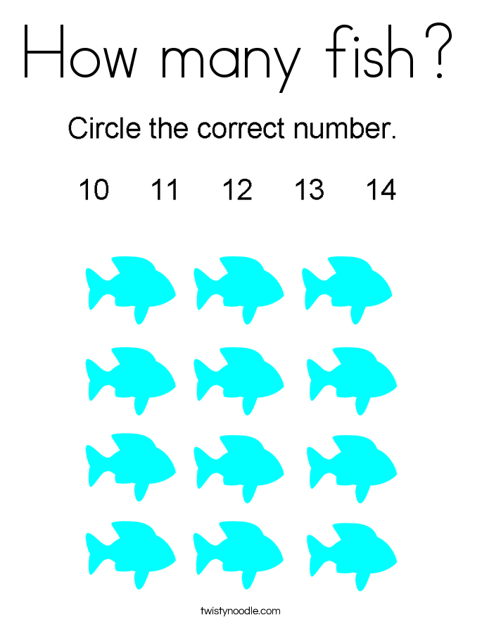How many fish? Coloring Page