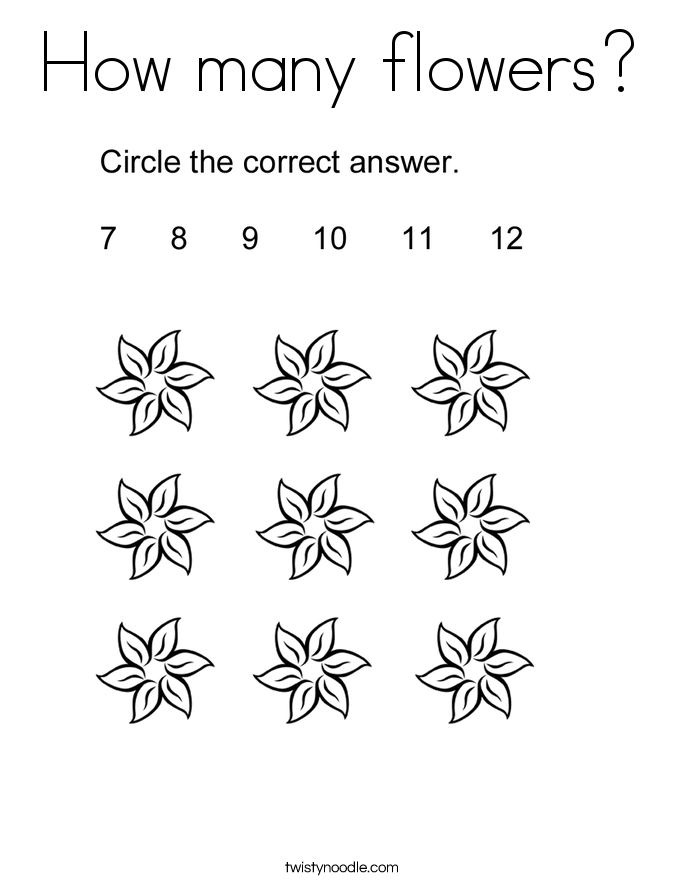 How many flowers? Coloring Page