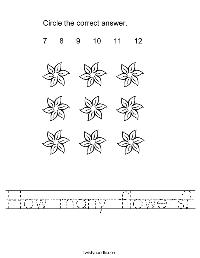 How many flowers? Worksheet