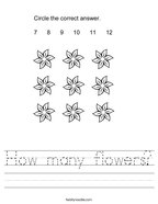 How many flowers Handwriting Sheet