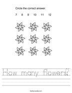 How many flowers Handwriting Sheet