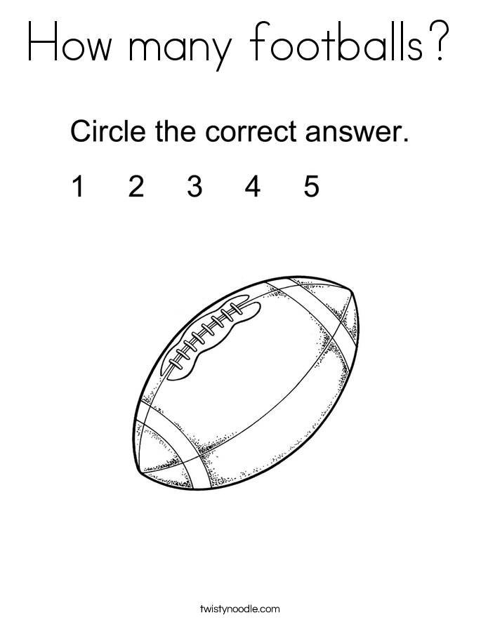 How many footballs? Coloring Page