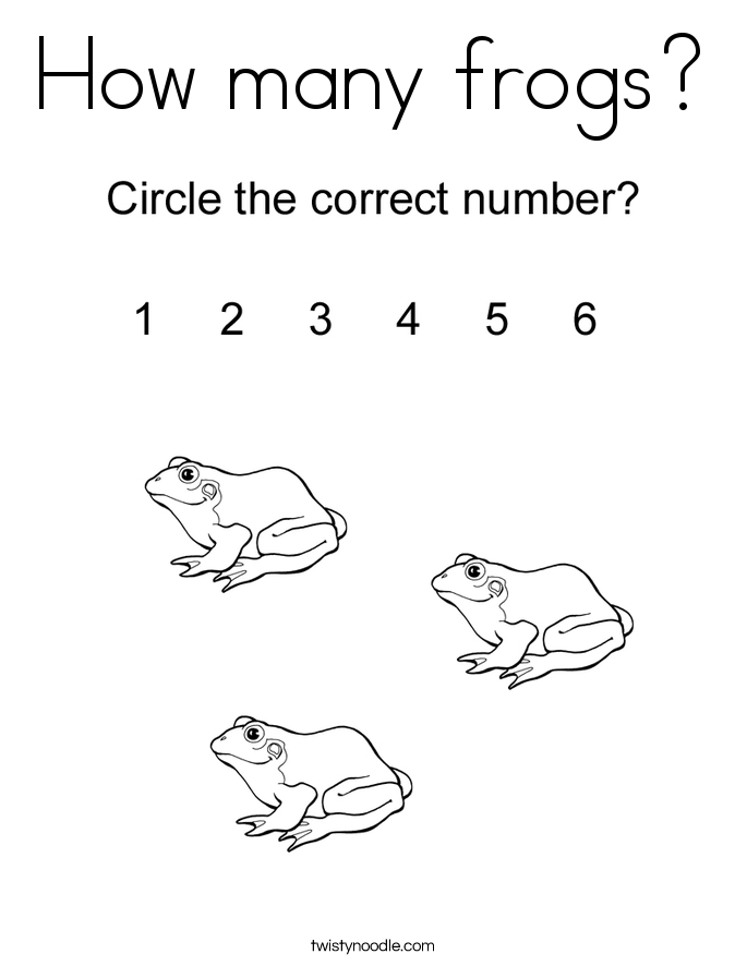 How many frogs? Coloring Page