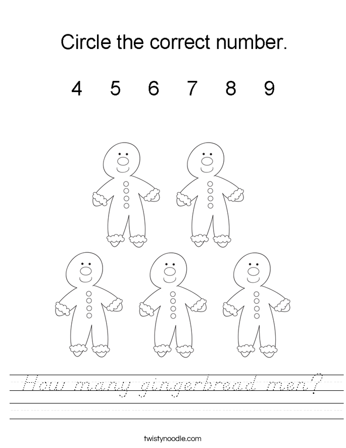 How many gingerbread men? Worksheet
