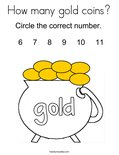 How many gold coins? Coloring Page