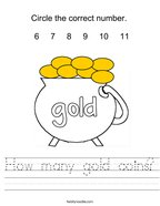 How many gold coins Handwriting Sheet