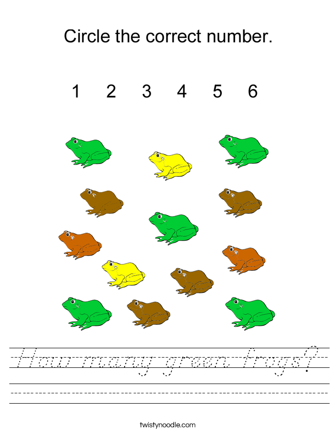 How many green frogs? Worksheet