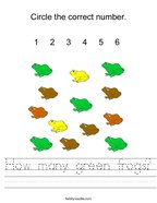 How many green frogs Handwriting Sheet